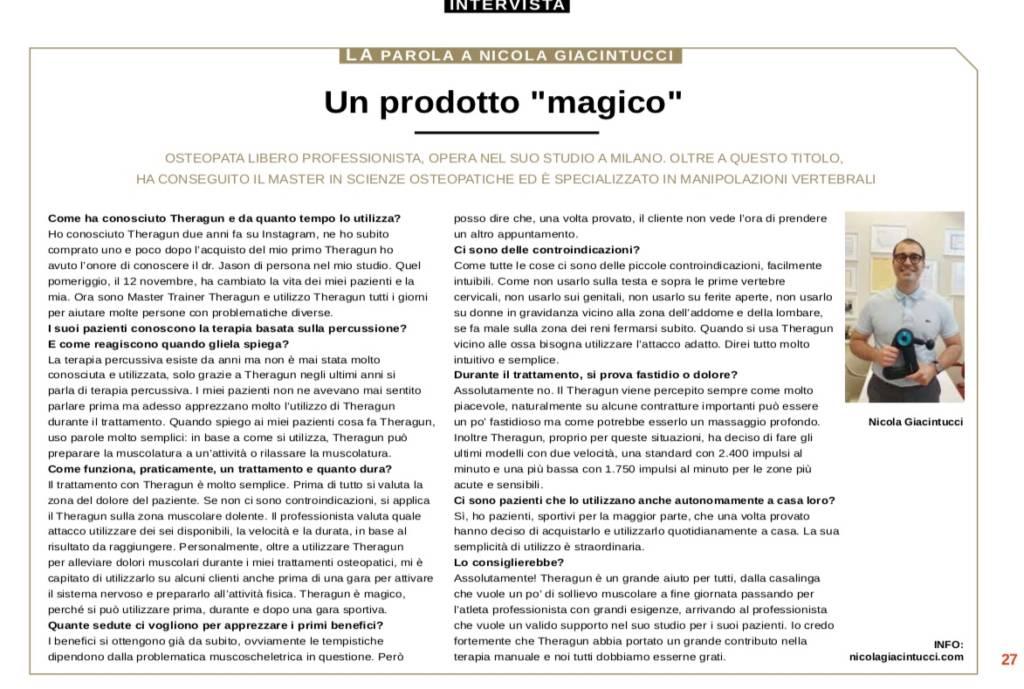 Intervista Theragun Nicola Giacintucci per Outdoor Magazine